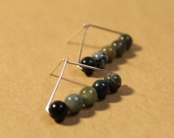 The Moirai Earrings - jewelry, minimal, dainty, simple, abstract, wire, beads, Aventurine, triangle, small, faceted, silver, gold, handmade