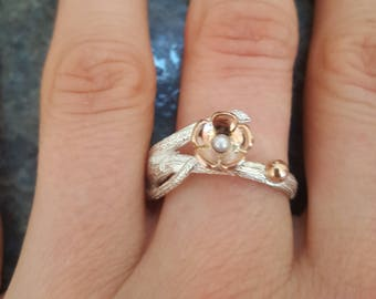 Sterling silver and rose gold Twig and Blossom ring double branch