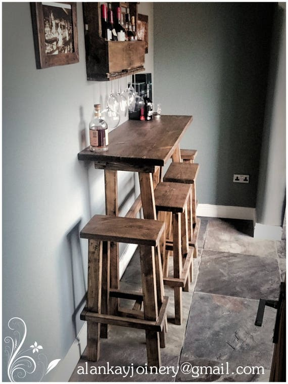 Cool Bespoke Lean To Wall Reclaimed Timber Rustic Breakfast Bar Stools Any Stain Any Size Lamtechconsult Wood Chair Design Ideas Lamtechconsultcom