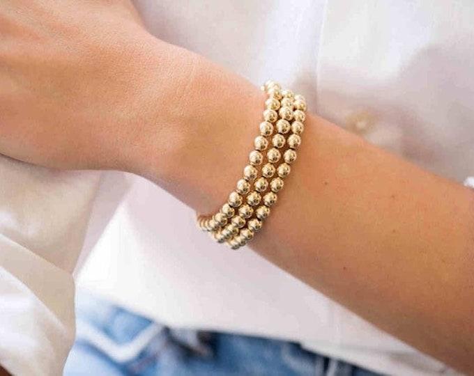 6mm Gold Beaded Bracelet