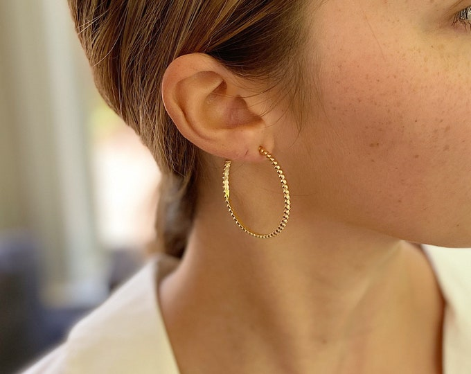 Large Gold Ball Hoops