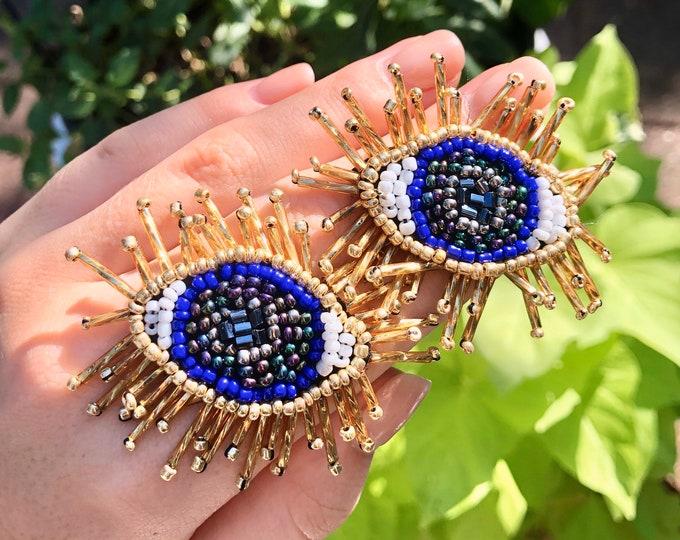 Beaded Evil Eye Stud Earrings