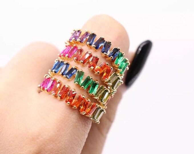 Rainbow Baguette Ring