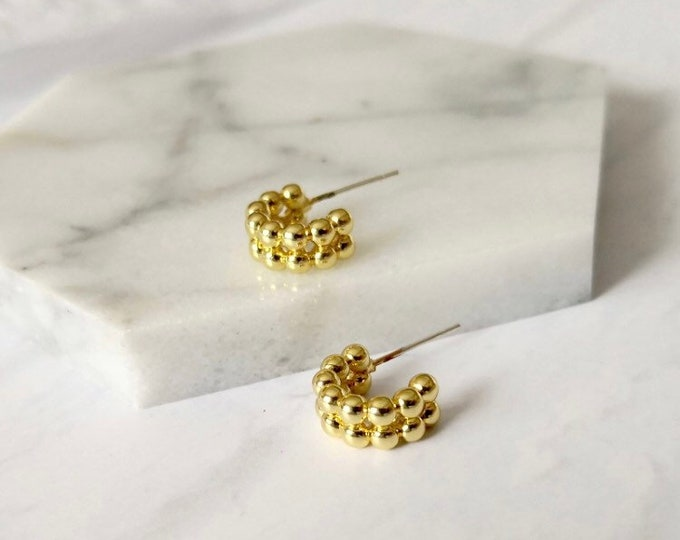 Mini Gold Bead Hoops