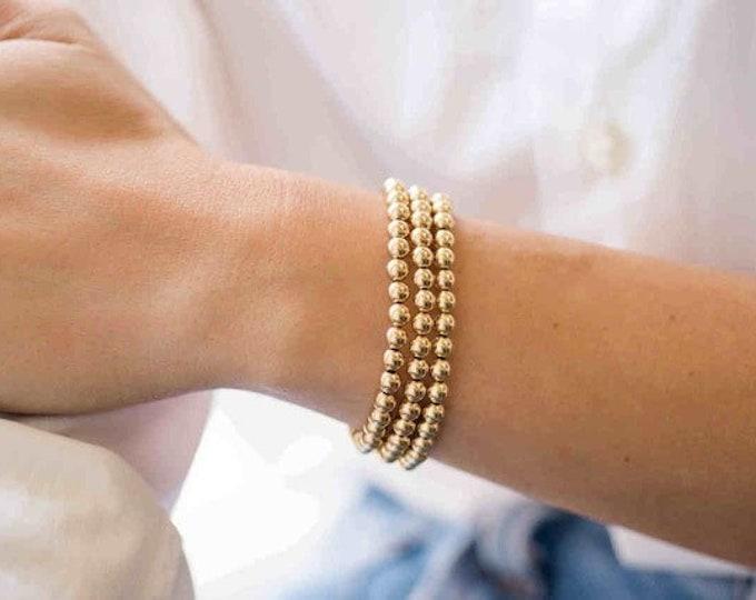 5mm Gold Beaded Bracelet