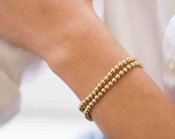 4mm Gold Beaded Bracelet