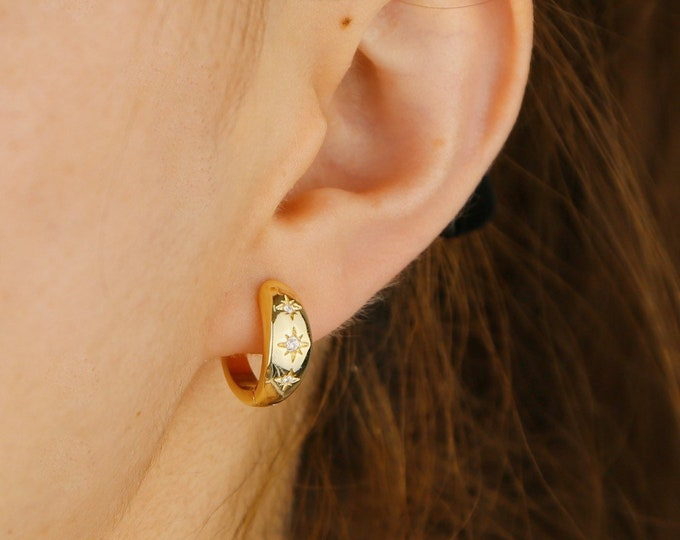 Gold Starburst Chunky Hoops