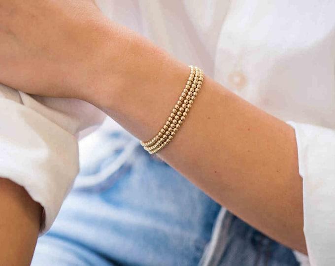 3mm Gold Beaded Bracelet
