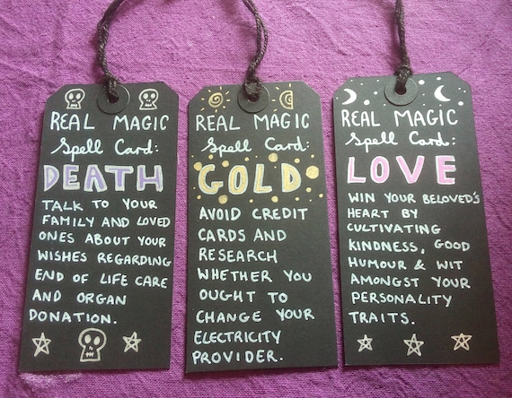 Items similar to Boring 'Real Magic Spell' Tags (Death, Gold, Love