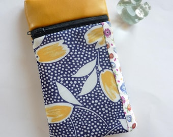 Case for mobile phone with zip, fleece cover, yellow daffodils and pea