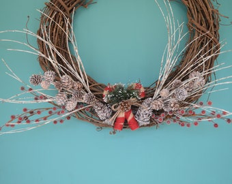 Christmas Wreath, Candy cane wreath, Front Door Wreath, Christmas Time Decor, Wooden Wreath, Christmas Wreath, Pine Cone Wreath, Door hanger