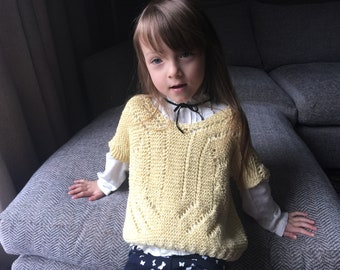 Sand Crochet summer jumper Girls 3-6 years