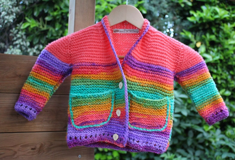 ae9a1e646 Hand knitted sweater for baby girls 1-3 years old multi