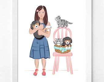 Cat Lover Gift, Dog Gift, Printable Wall Art, Girls Room Decor Idea, Birthday Gift, Christmas Gift Idea, Cute Wall Art, Gift for Her