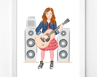 Music, Cute Downloadable Prints, The Future is Female Illustration