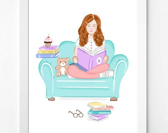 Book Lover Gift, She Believed She Could So She Did, Girl Power, Digital Download, Wall Decor, Inspirational Kids Gift Idea, Reading Nook