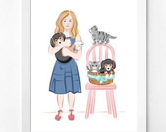 Cute Art Print, Pet Portrait, Cat Dog, Girl, Print, Printable
