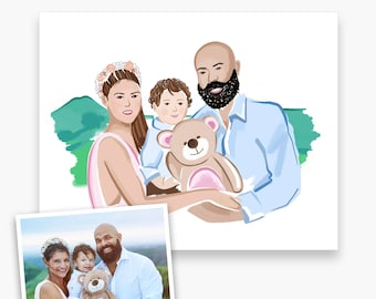 Family Portrait Custom Painted from Photo, Wall Art, Personalized Gift for Her, Illustration, Gift for Mom, Printable, Digital Download