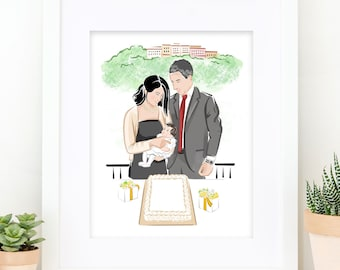 Personalized Gift for Mom, Portrait Painting, Family Illustration, Customized, Housewarming Gift Idea, Gift for Her, Downloadable Prints