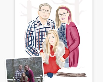 Portrait from Photo Illustration Print Gift for Her