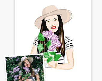 21st Birthday Gift, Personalized Illustration from a Picture, Art Print, Printable Wall Art, Free Shipping