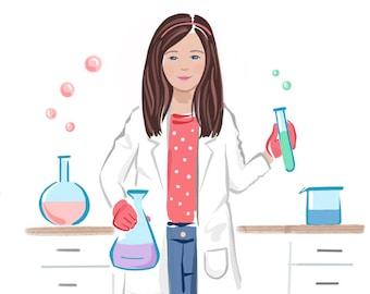 Feminism Art Print, Scientist, Science Lab, Inspirational Kids Gift, Feminism, Feminist Printable Wall Art, Cute Girls Room Decor Idea