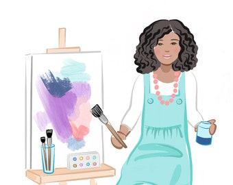 Girl Power Art Print, Wall Art, Instant Download, Birthday Gift, The Future is Female, Girl Power, Artist, Cute, Kids Decor, Playroom