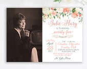 75th Birthday Party Invitation Grandma Floral Classy 80th Invite