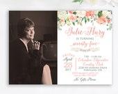 75th Birthday Party Invitation Grandma Floral Classy 80th Invite