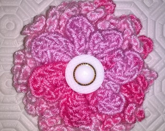 Crochet multi Pink 3 layered Flower with white coloured button Pin Brooch Badge Outfit Embelishment beautiful addition to any garment, coat