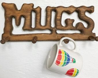 Vintage wooden mugs rack, wall hanging cup storage