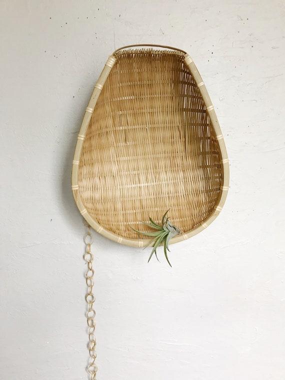 Woven wicker winnowing basket wall hanging basket decor