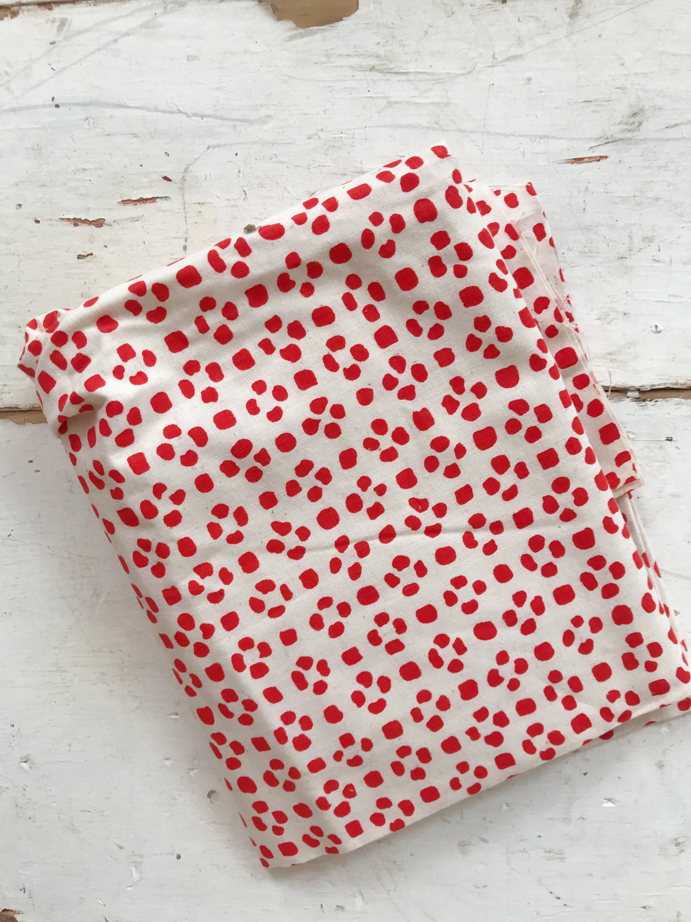 Red spotted white modern fabric cloth