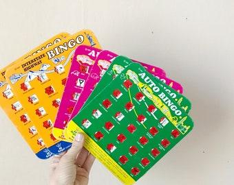 Vintage auto bingo cards, road trip car game boards