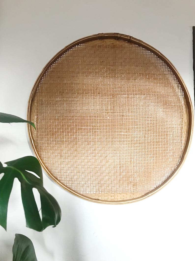 Vintage Woven Bamboo Winnowing Wall Hanging Basket Decor Etsy