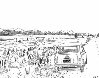 """Digital line drawing, """"Road Trip"""" print - JPG"""