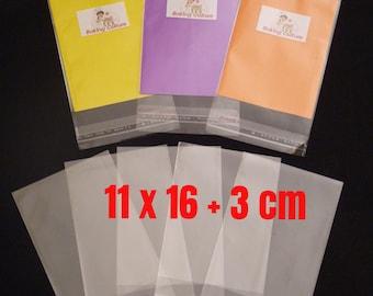 100 Cellophane Bags - Self Seal - 11 cm x 16 cm +3 cm lip - 40 micron thickness