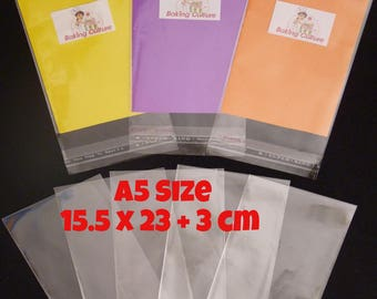 100 Cellophane Bags - Self Seal - 15.5 cm x 23 cm +3 cm lip - 40 micron thickness
