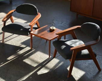 SOLD* VINTAGE Pair Of PEARSALL Captainu0027s Chairs In Maharam Wool