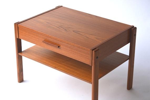 Vintage Teak Side Table.Vintage Teak Side Table W Floating Shelf