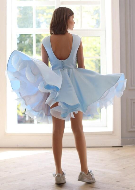 9bbca601a4163 Bleu robe robe dos nu robe de soirée fille bleu fête
