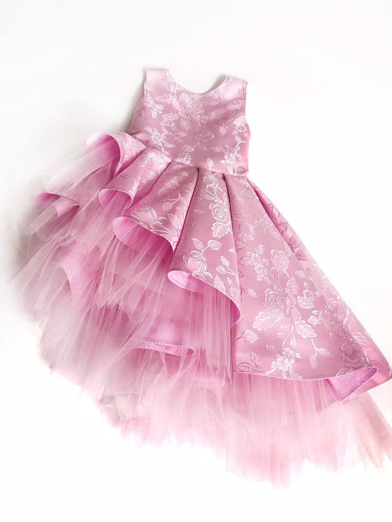 ab605d14897 Pink flower girl dress with amazing floral pattern with an