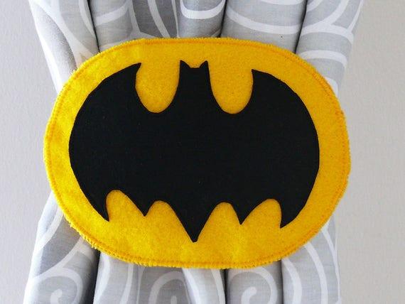 2 Bat Rideau Nouer Dos Super Heros Bat Tie Dos Rideau Bat Etsy