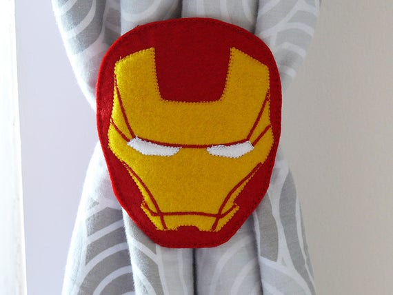 2 Rideau Nouer Dos Super Heros Iron Man Embrasses Etsy