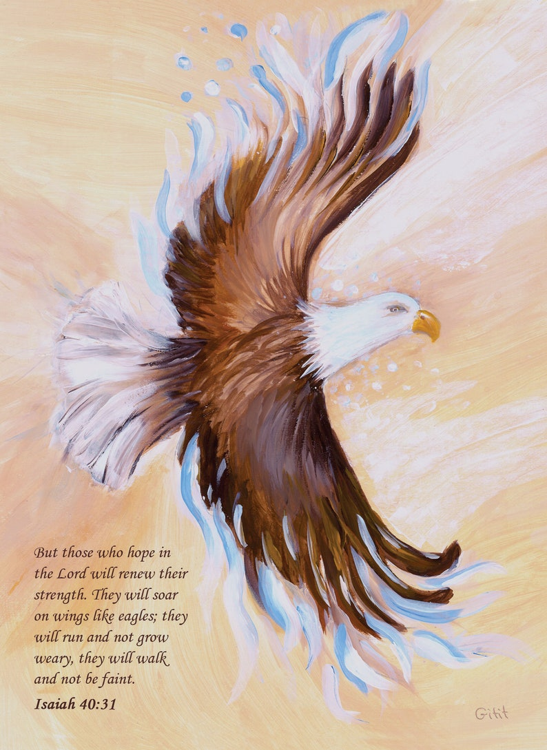 Eagle Print Handmade Poster or Greeting Card those who Poster 22X27 cm