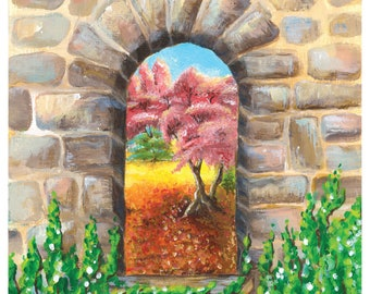 A window to your garden painting - Available as a Poster or as a greeting card