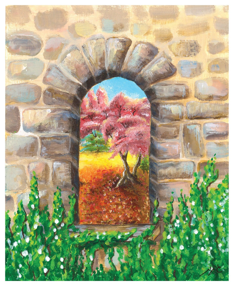 A window to your garden painting  Available as a Poster or as Poser 27X22 cm