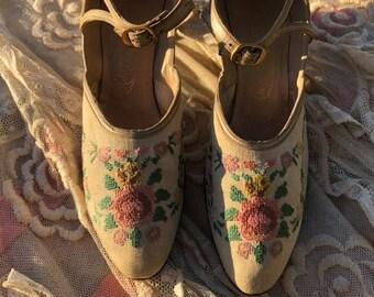 d0c8f4cf29b9 Rare needlepoint 1920s shoes