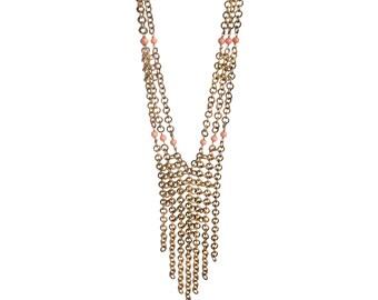 Metal Necklace Rosa Corallo, Italian Jewels, Semiprecious Stones and Brass