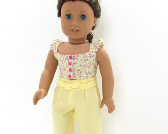 Yellow and Pink Floral Crop Top and Yellow Capris, AG Doll Clothing, 18 Inch Doll Clothing, Made to Fit American Girl Doll